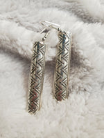Handmade Rectangle Sterling Silver Earrings