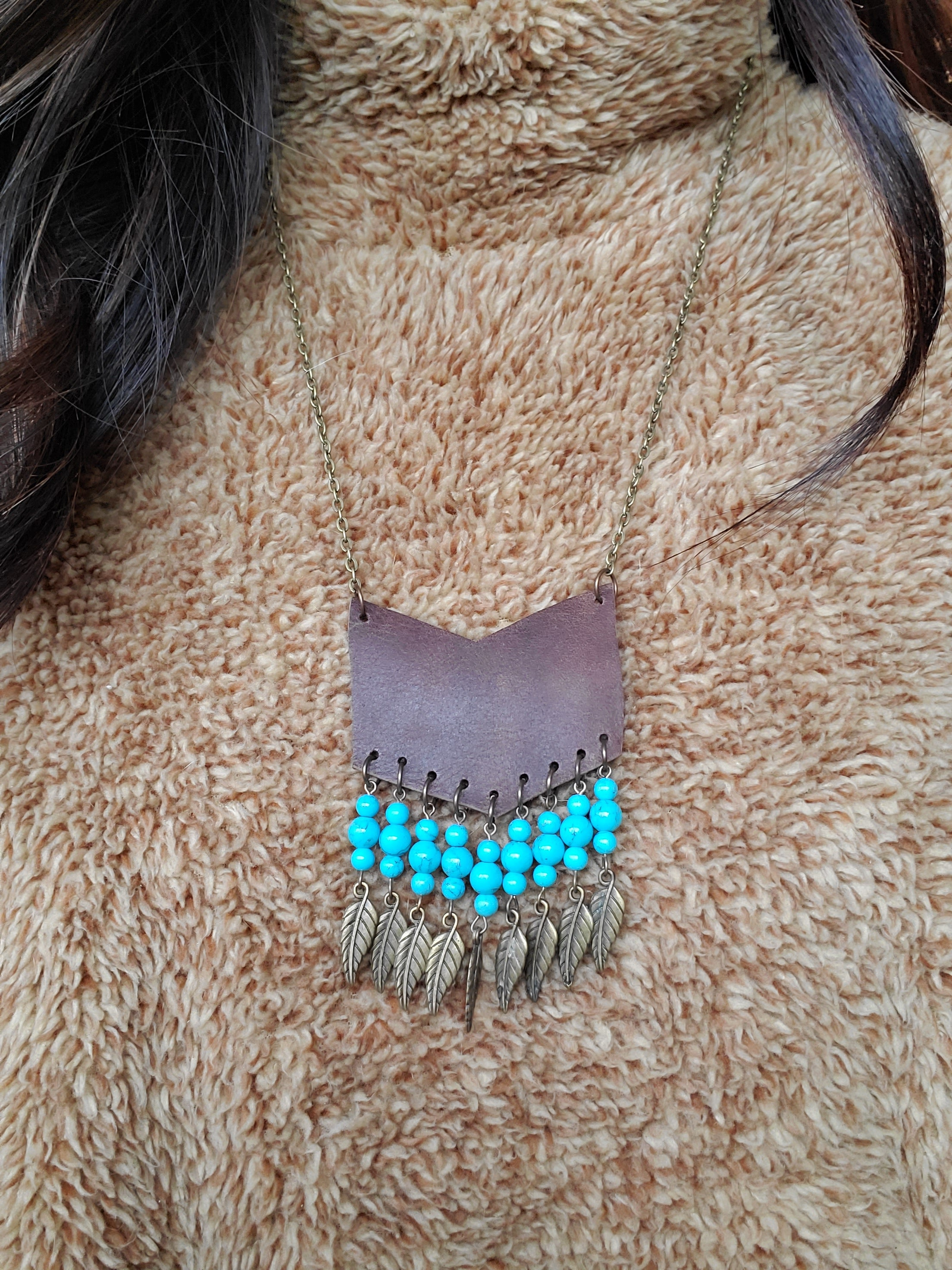 Leather Chevron w/ Turquoise and Charms