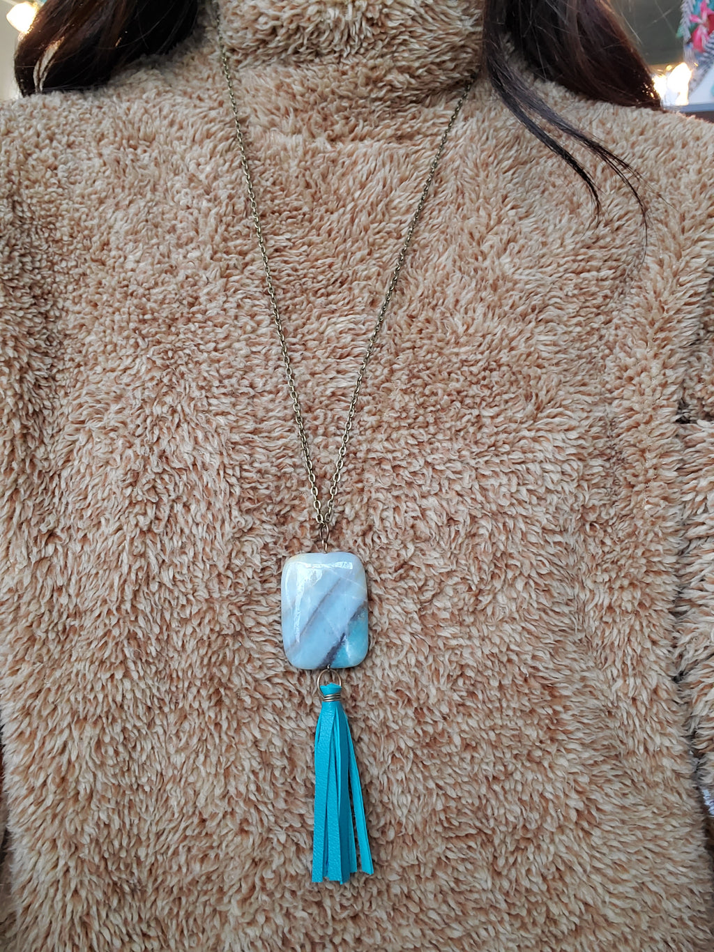 Stone Charm Necklace w/ Leather Tassel