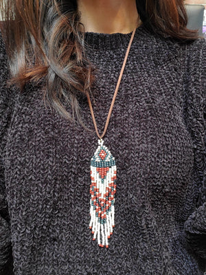 Native Design Bead Fringe Necklace
