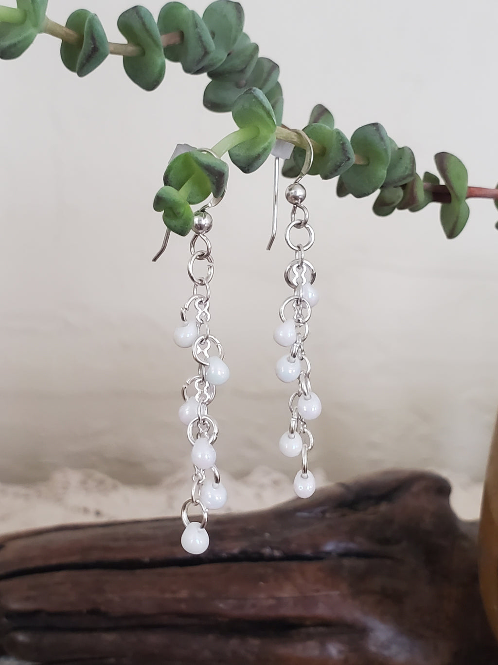 Artisan White Pearl Dangle Earrings