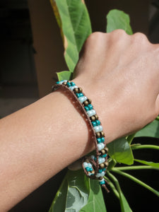 Artisan Made Leather Bracelet w/ Beads