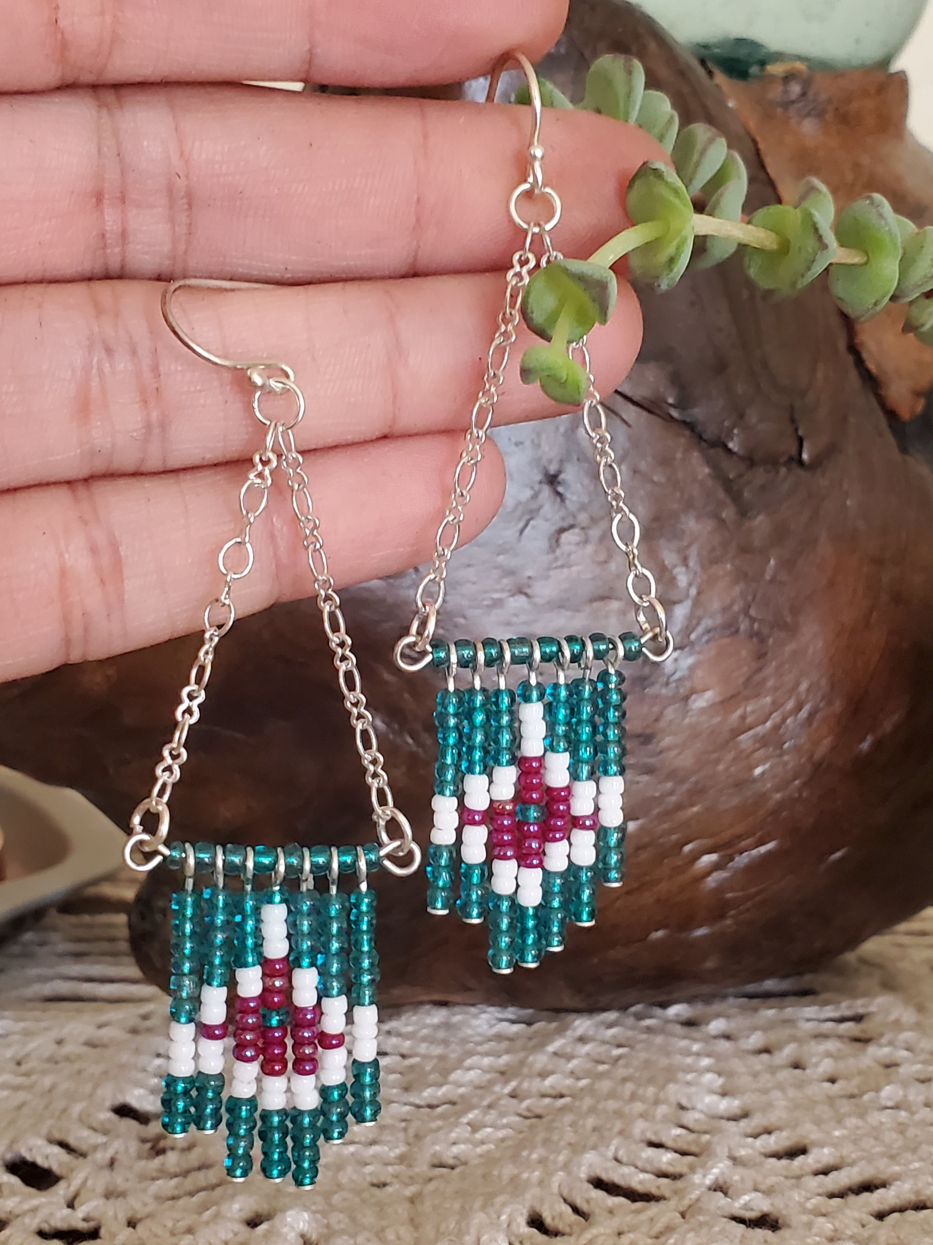 Artisan Made Bead Dangle Chandelier Earrings