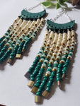 Artisan Half Moon Bead Fringe Earrings