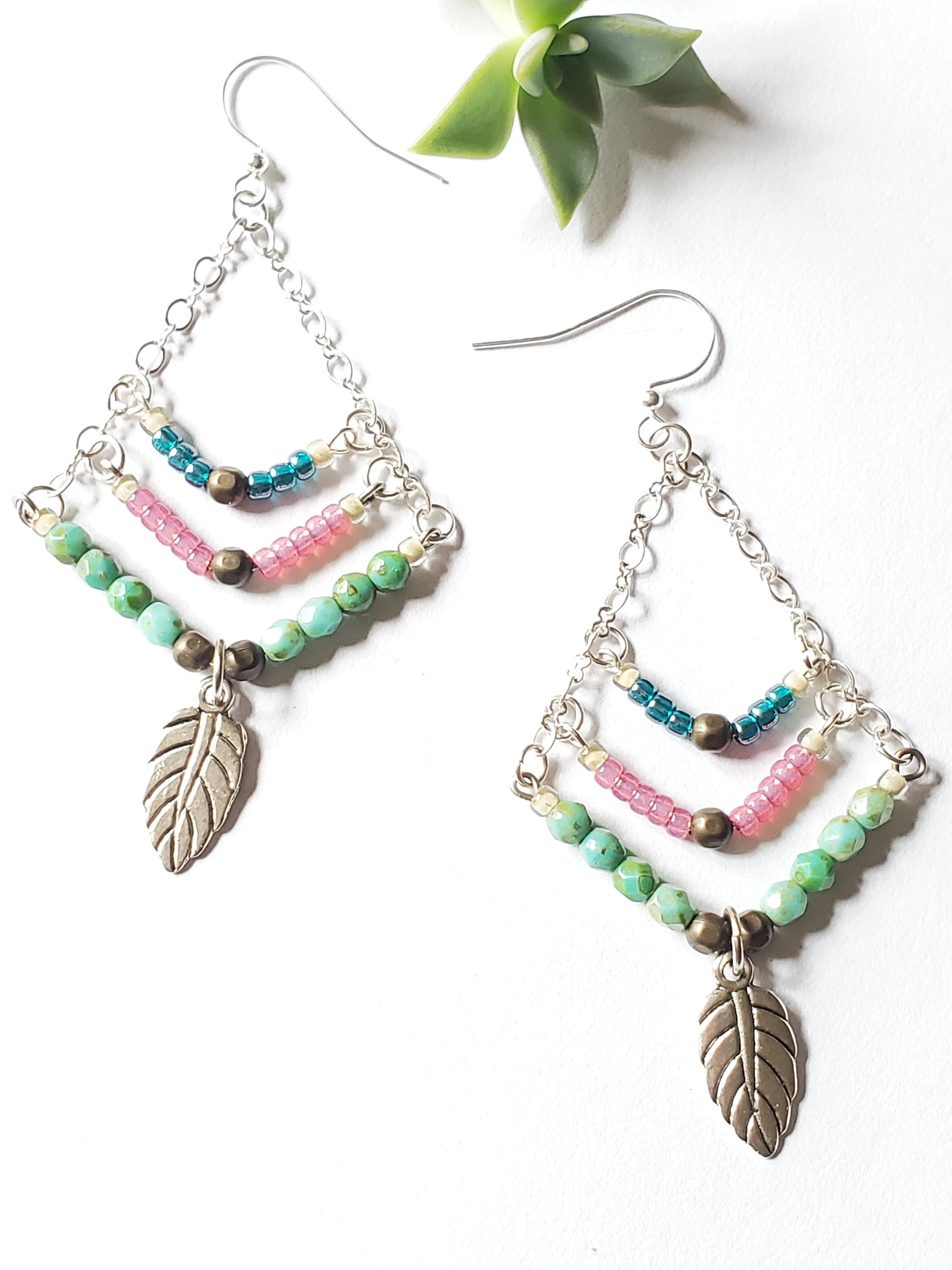 Artisan Leaf Charm Dangle Earrings