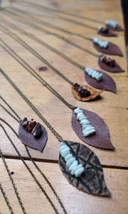 Artisan Made Leather Leaf Necklace w/ Stone Charms
