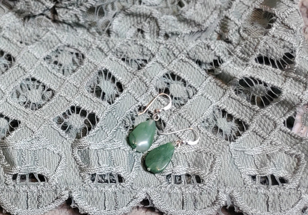 Artisan Made Green Stone Teardrop Earrings