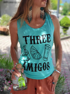 Three Amigos Tank Top in Turquoise