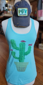 Cactus Flower Pot Tank Top in Light Blue