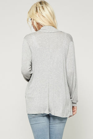 Open Cardigan w/ Front Pockets in Heather Grey