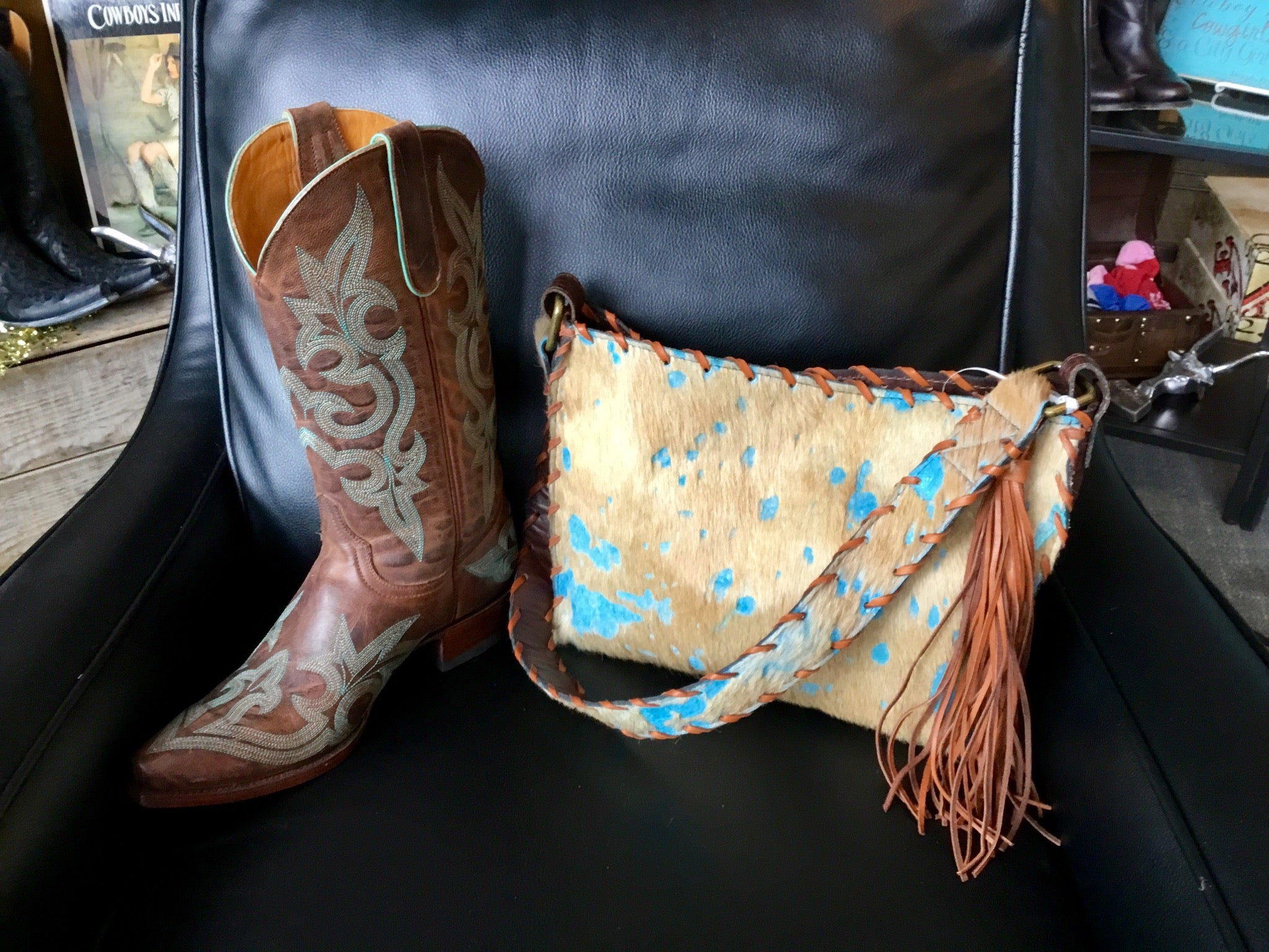 Cripple Creek Creations Turquoise and Tan Acid Wash on Cow Front