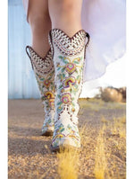 Double D Ranch Almost Famous Boots in White - tempting-teal-boutique