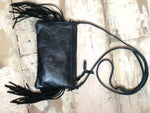 Black and Gold Cowhide with Black Fringe Crossbody