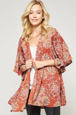 Bell Sleeve Open Cardigan in Marsala