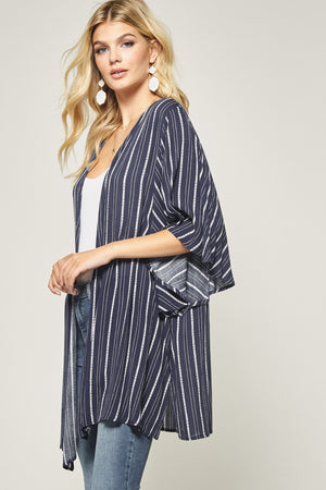 Striped Cardigan in Navy