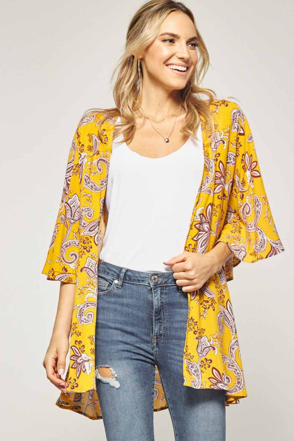 Short Bell Sleeved Cardigan in Mustard w/Paisley Design