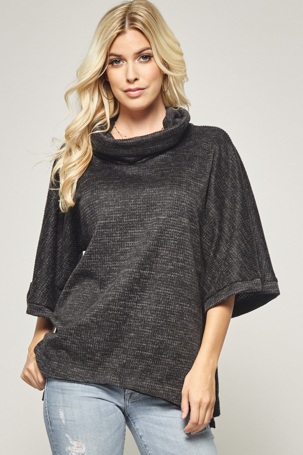 Cowl Neck Knit Sweater Tunic in Dark Grey