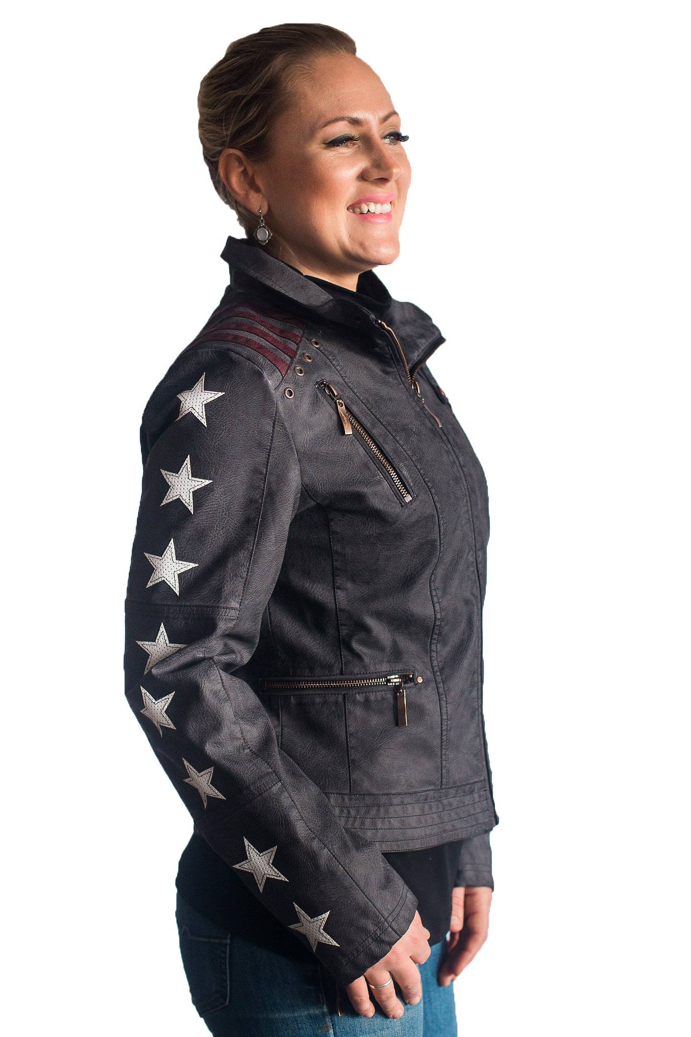 Montanaco Vintage Look Racing  Jacket w/ Stars & Stripes in Charcoal