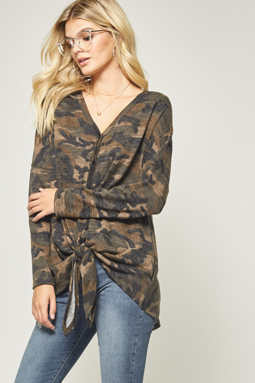 Loose Fit Button Up Camo Top w/ Front Tie