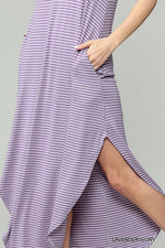 Lavender Striped Maxi Halter Dress
