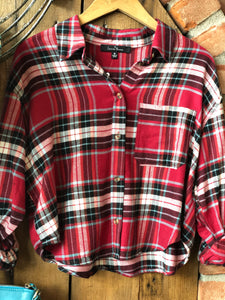 Cropped Red Plaid Button Down Top