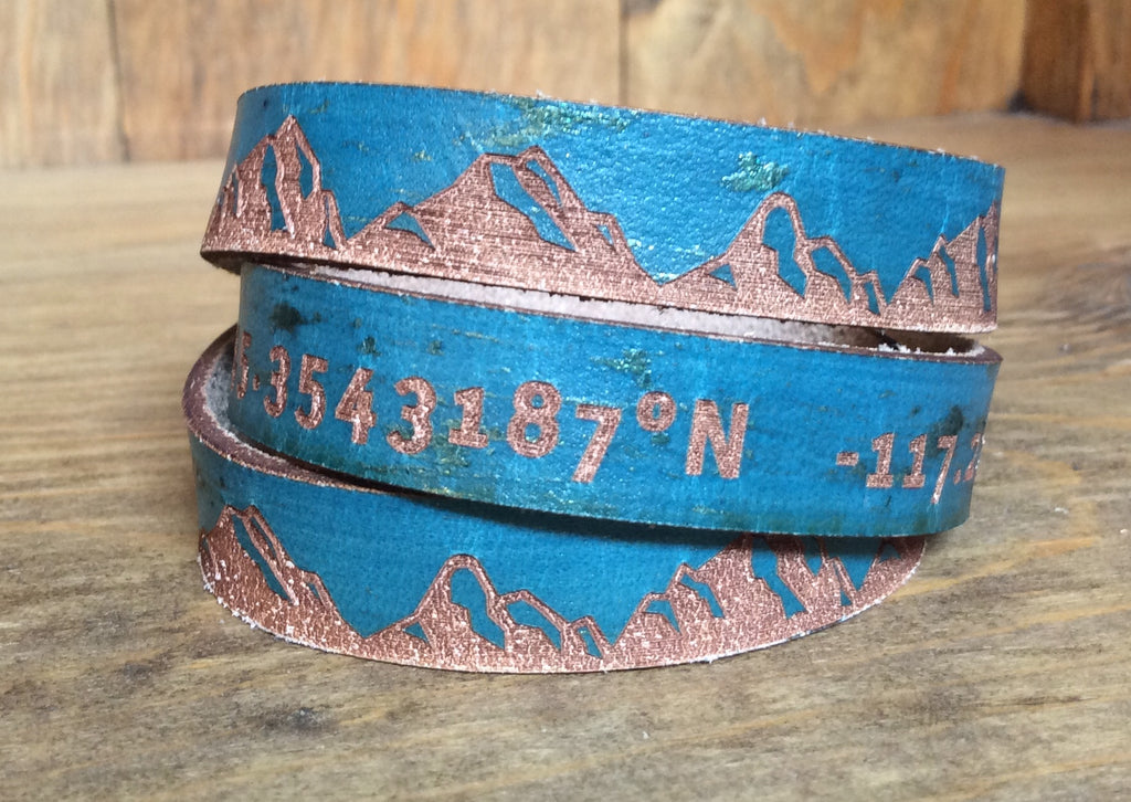 SXS Leather Cuff Snap On Triple Wrap Bracelet w/ Joseph Oregon Coordinates