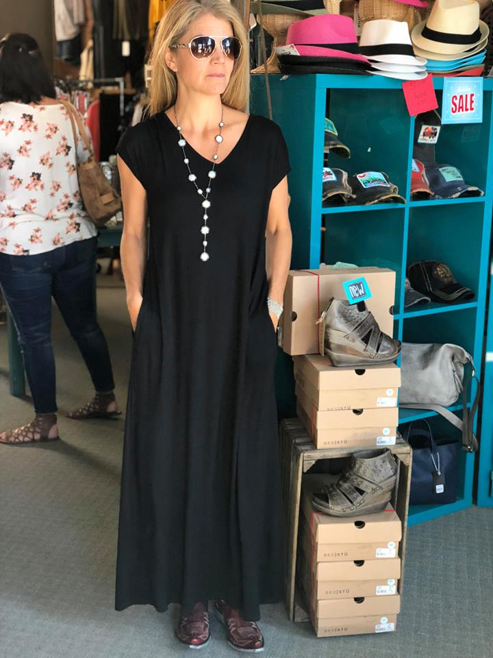Maxi Dress w/ Extended Sleeves and a V Back Twist - tempting-teal-boutique