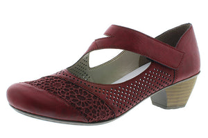 Rieker Red Heeled Mary Janes w/ Lace Detail