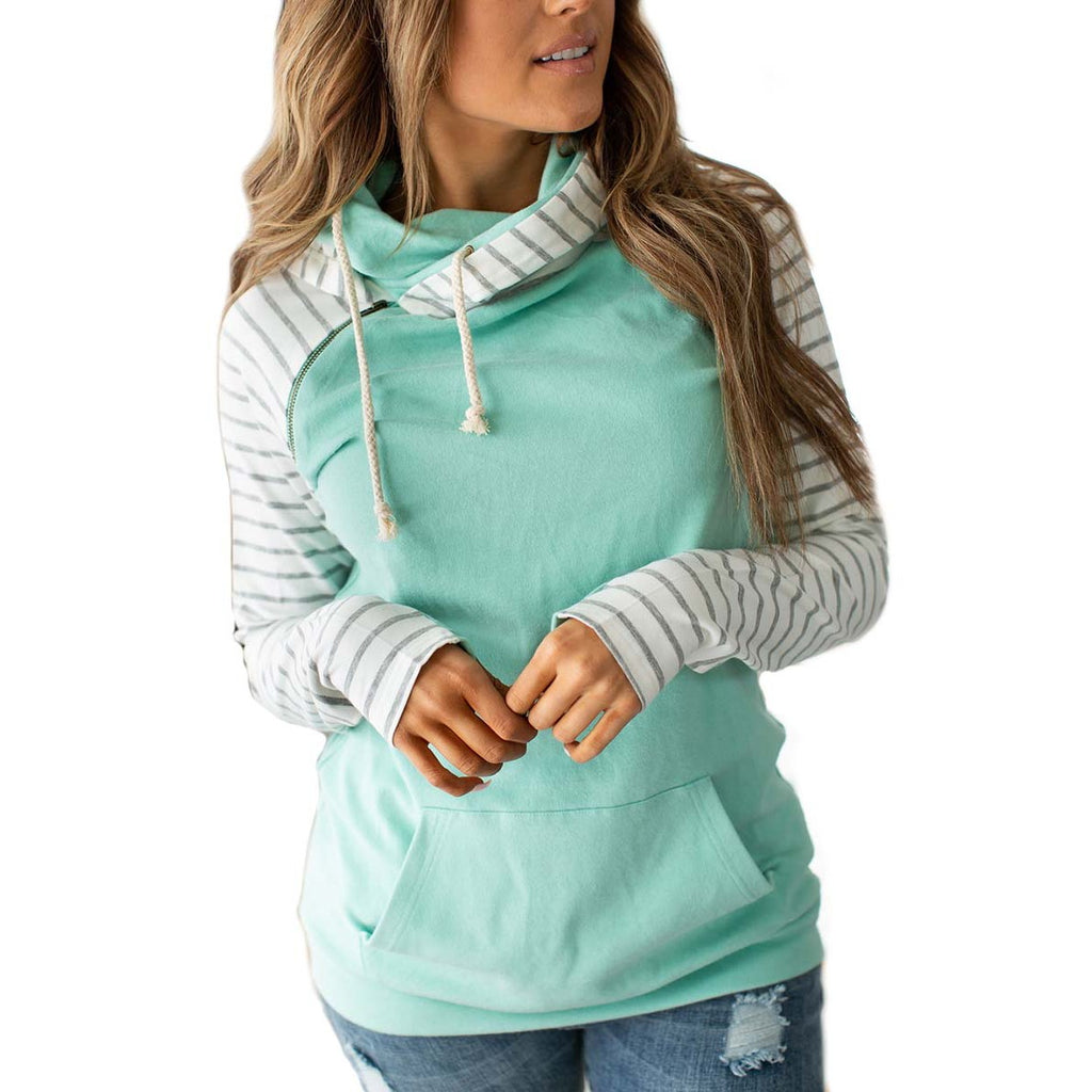 DoubleHood Sweatshirt in Mint with Grey Striped Sleeves