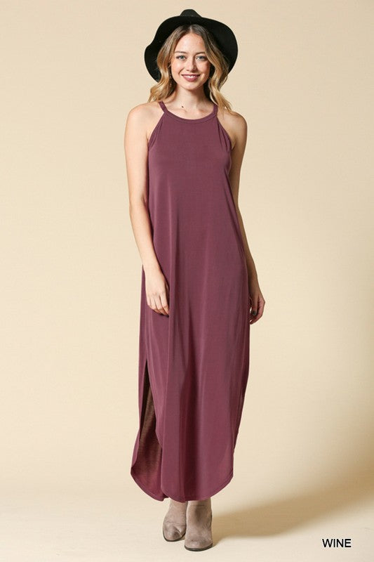 Spaghetti Strap Maxi Dress w/ Keyhole in Back Assorted Colors