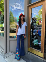 Denim Flare Pant w/ Embroidery