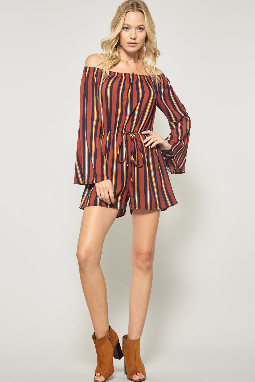 Striped Long Sleeve Romper in Burnt Orange