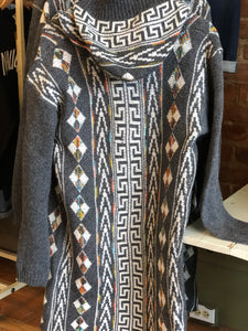 Sweater Long Sleeve Hooded Cardigan w/ Aztec Pattern