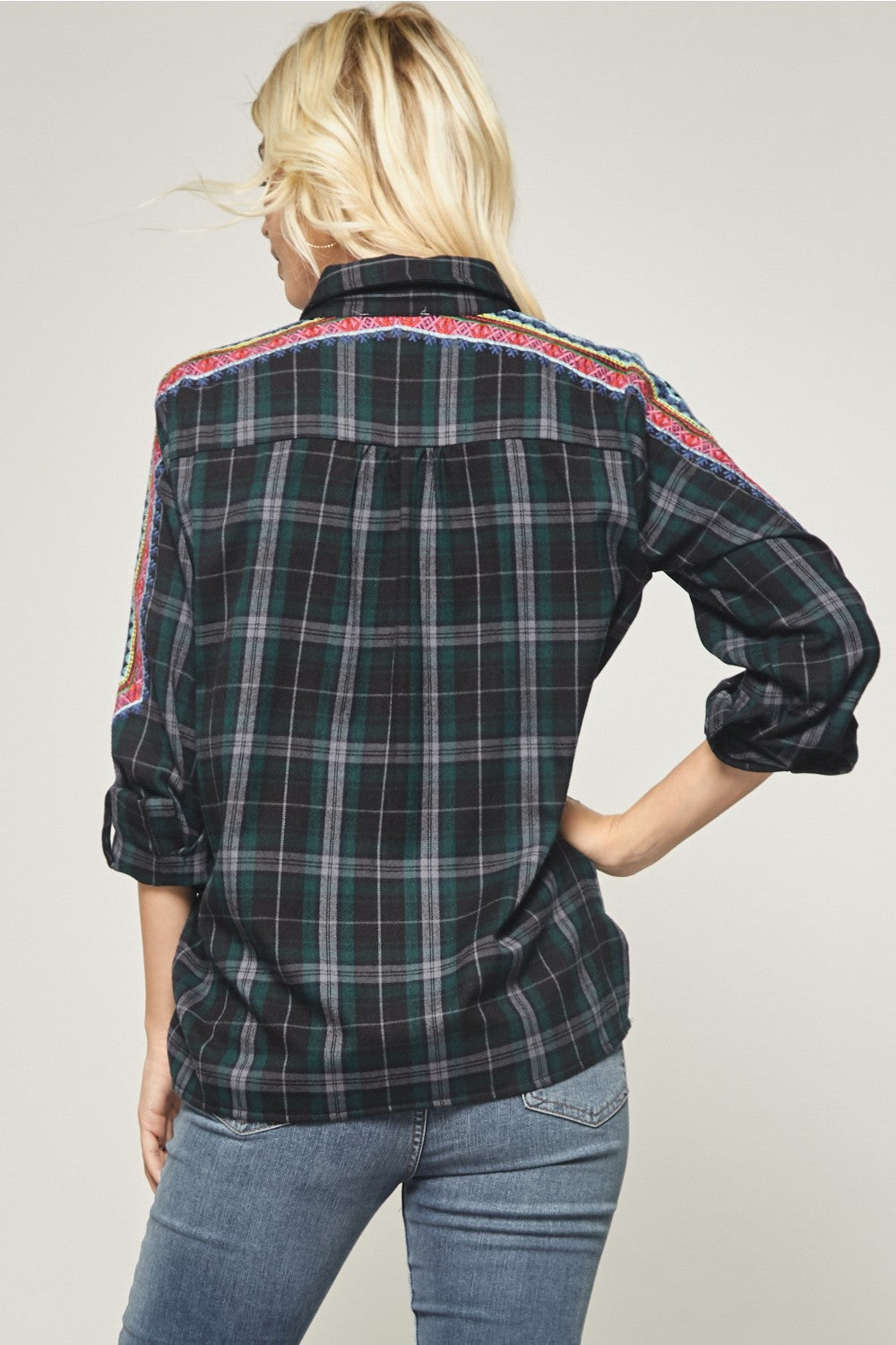 Plaid Top w/ Front Embroidery Detail in Black