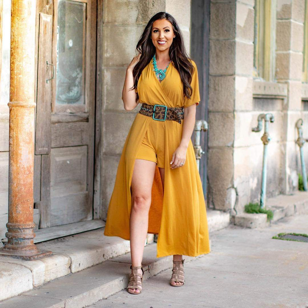 Mustard Short Sleeved Maxi Romper