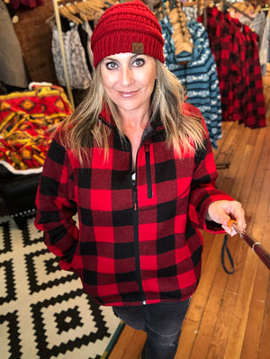 Buffalo Plaid Zip Up Jacket