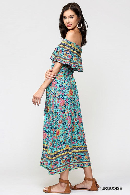 Ethnic Border Print Turquoise Dress with Elastic Shoulder