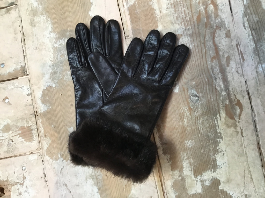 Mahogany Leather & Mink Gloves