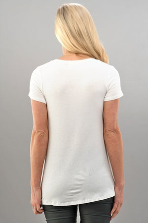 Solid Front Knot Detail Short Sleeve Top in Ivory