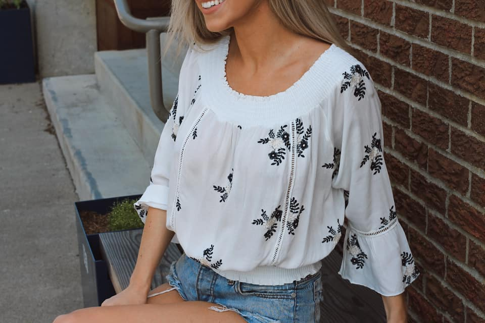 MontanaCo Off Shoulder Top in White