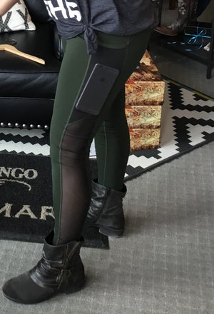 Pop Fit Stevie with pockets in Olive Athleisure Wear Leggings