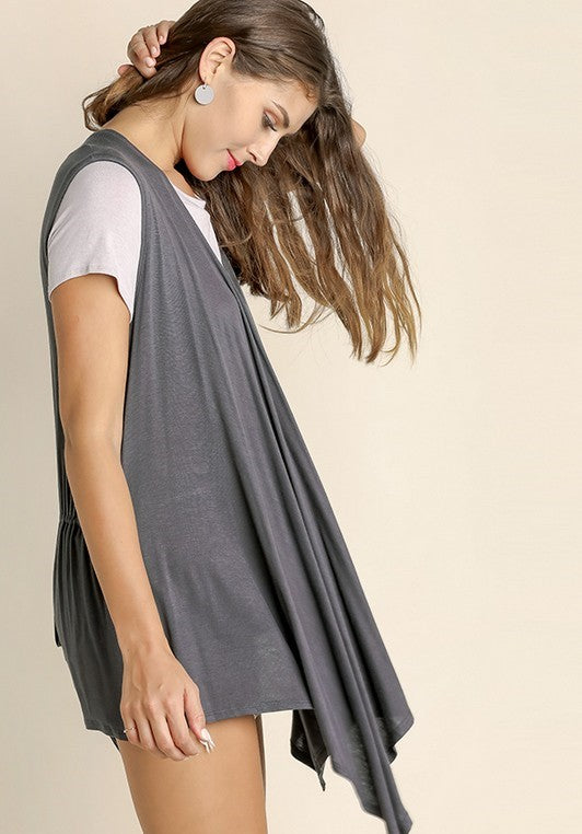 Sleeveless Cardigan w/ Adjustable Back Tie in Charcoal