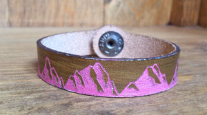 SXS Leather Snap On Cuff w/ Mountain Range