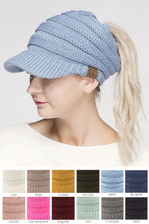 C.C Ponytail Messy Bun Knitted Brim Hat - tempting-teal-boutique