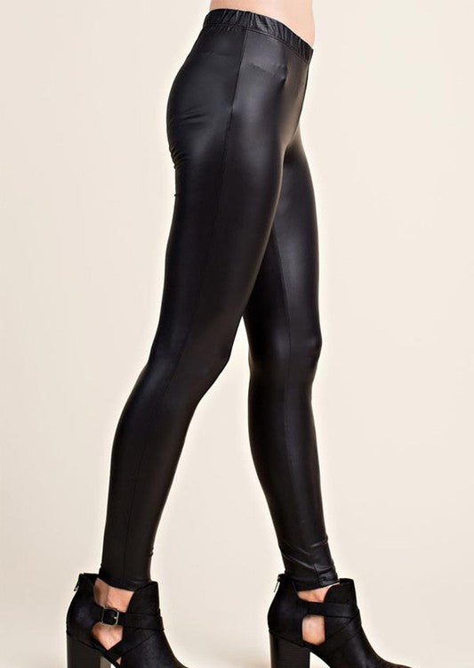 Elastic Waist Faux Leather Black Leggings