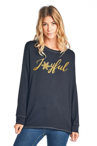 Joyful Gold Foil Holiday Graphic Top