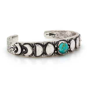 Moon Phases Cuff Bracelet w/ Turquoise
