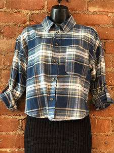 Cropped Blue Plaid Button Down Top