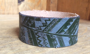 SXS Feather Leather Snap On Cuff
