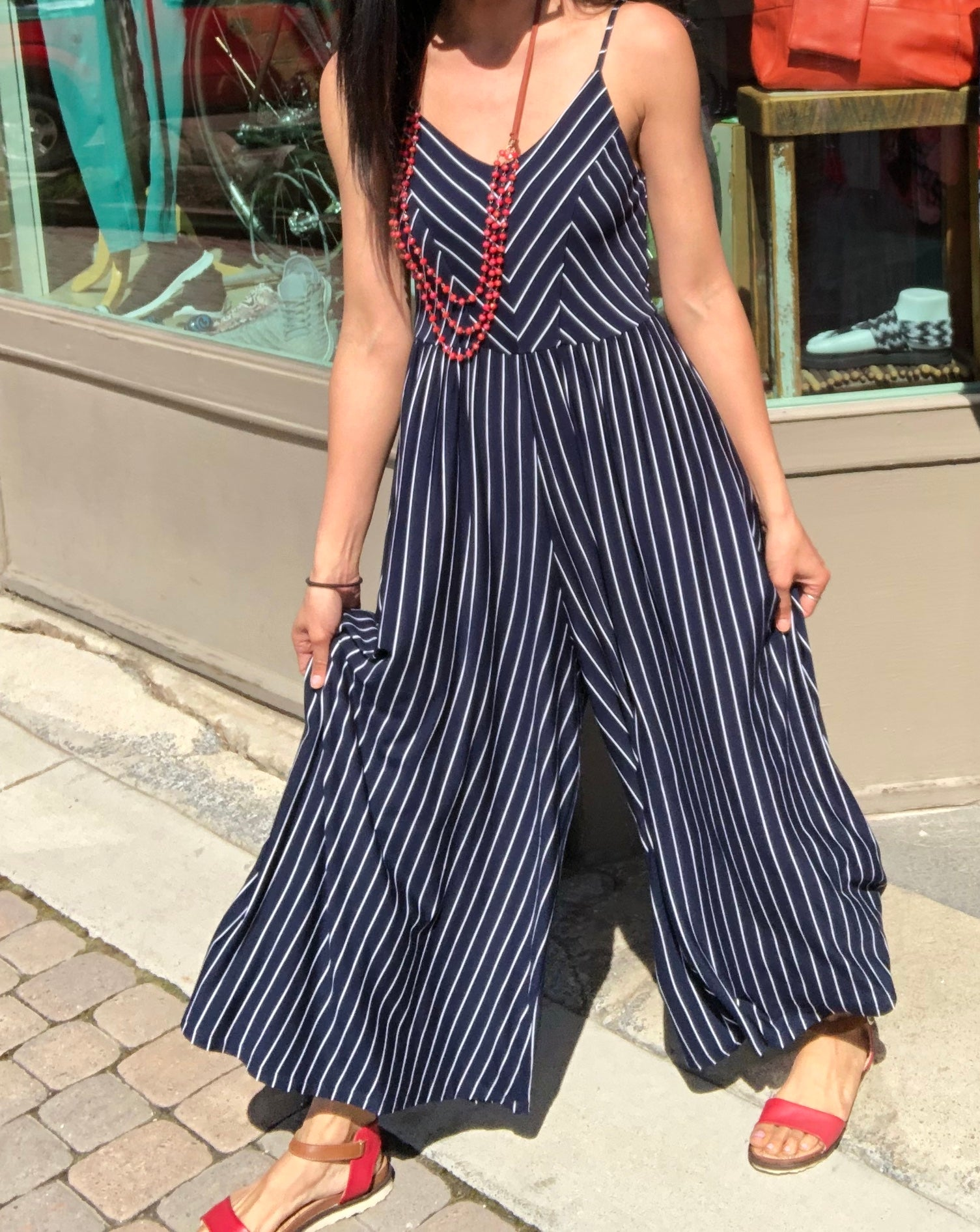Striped Wide Leg Jumpsuit in Navy